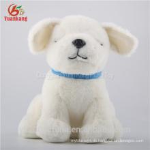 weißer Plüschhund des Großhandelsplüschspielzeugs mit blauem Auge