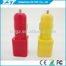 Cubo y forma de cilindro Mini USB dual de 2 puertos Car Charger Adapter