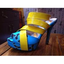 2016 africano impreso tela peep toe sandalia zapatilla zapatos (HCY02-1482)