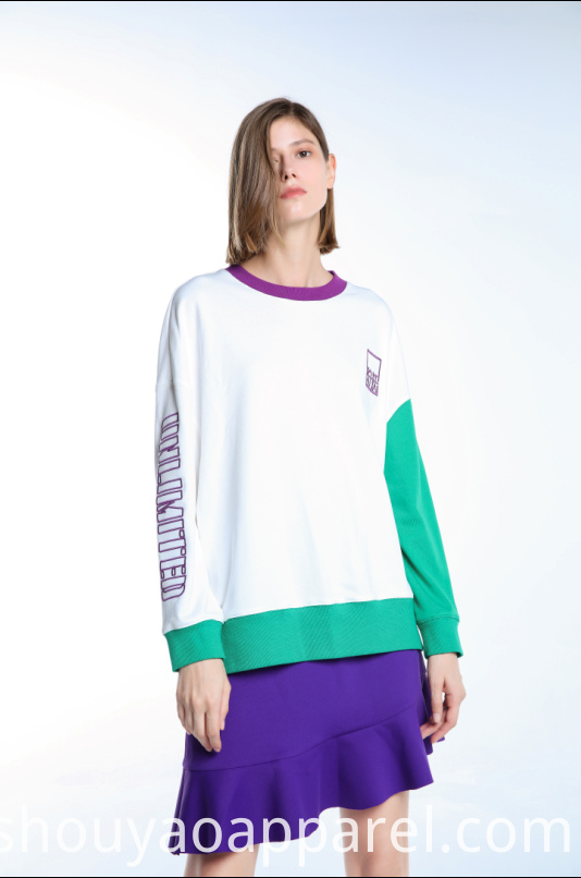 SWEATSHIRT WITH CONTRAST NECK AND SLEEVE
