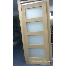 Wood Bathroom Frosted Glass Interior Door