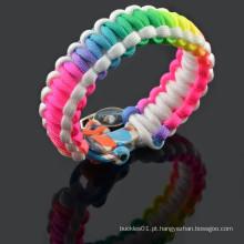 Arco íris paracord pulseiras