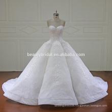XF16147 newest design of ball gown wedding dress 2017 fashion sweetheart neckline bridal dress with long train
