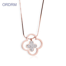 Panjang Snake Chain Diamond Four Leaf Clover Necklace