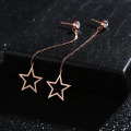 Simple Long Rose Gold Star Dangle Örhängen