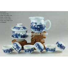 "Ensemble de théière en porcelaine bleue et blanche ""Chinese Kids Playing"", 1 Gaiwan, 1 Pichet et 6 tasses"