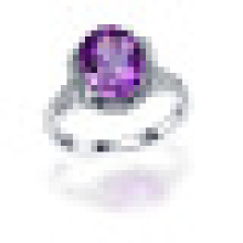 Handmade 3.0CT Oval Cut Natural Purple Amethyst Flowers Rings 925 Sterling Silver for Women Engagement Fine Jewelry