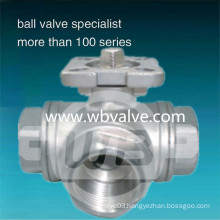 L/T Port Stainless Steel 3-Way Ball Valve 1000wog