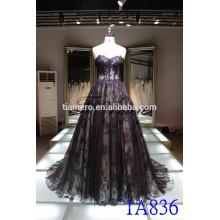Bordado ployester vestido de novia de novia 2016 Sexy Negro de hombro trasero Lace-up largo traje vestido de fiesta de baile