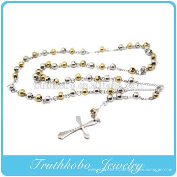 Mode Beckham Jesus Cross Deux Tons 6mm Plaqué Or Et Perles En Acier Chapelet En Acier Inoxydable Collier Pendentif