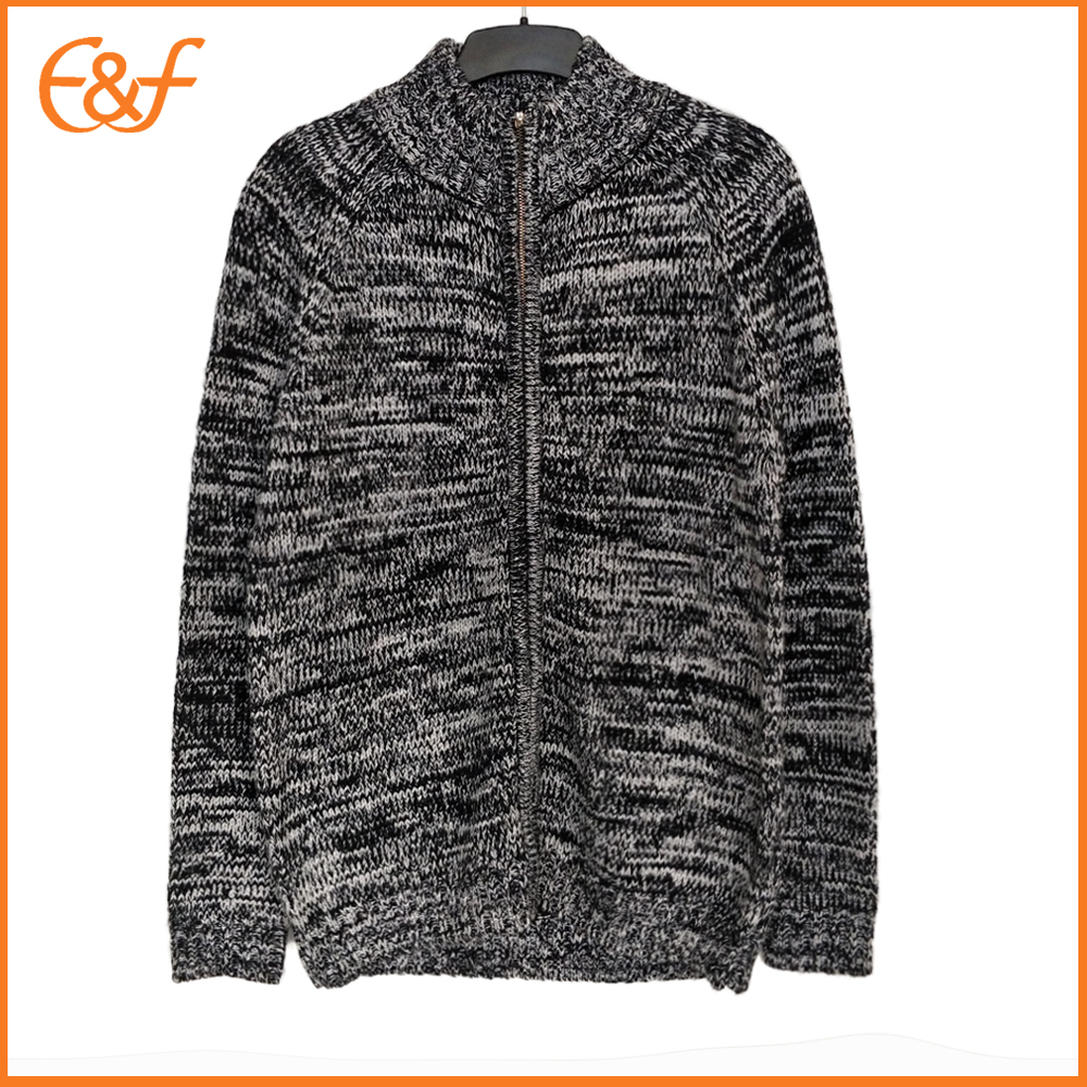 Full Zip Fancy Yarn Cardigan Sweater for Men
