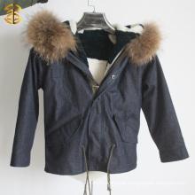 Kid Down Jacket with Raccoon Collar Sheep Fur Lining