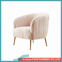 Light Pink Gold Chrome Leg Beauty Office Manager Visitor Chair Conference Sofa Leisure Chair