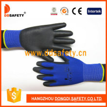 13 Gauge Blue Polyester Liner Black PU Coated Hand Protecting ESD Gloves