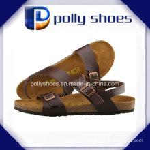 Brown Leather Slides Comfort Sandals Size 42 Men′s Sandal