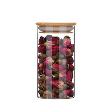 hot selling 1500ml wood lid clear glass vacuum jar