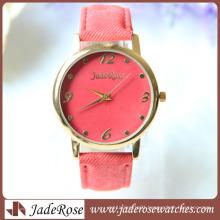Red Denim Jean Strap Ladies Wrist Watch