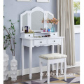 Furniture White Wooden Vanity Wardrobe Dressing Table Designs