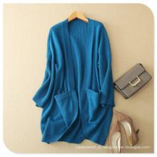 Senhoras ′ Casaco de casaco de lã tricotado puro cashmere xale com fundo redondo e bolsos
