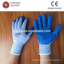 Gants tricotés en coton gants de travail antidérapants revêtus de latex