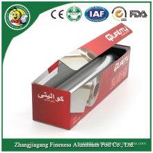 Rollo de papel de aluminio del hogar con caja de color del paquete de papel