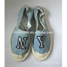 Fashion denim espadrille femme chaussures en caoutchouc plat en caoutchouc avec patch