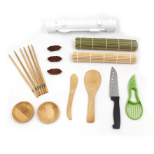 12pcs Kitchen Set Equipment Beginners Easy Use Home Bamboo Roll Mat Rice Sushi Making Kit with Bazooka