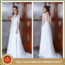 AE-24 Unique Sexy Open Back Half Sleeve Bridal Wedding Gowns 2016 Lace Applique See Through Bodice Wedding Dress for Weddings