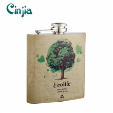 6 Oz Stainless Steel Portable Environmental Tree Hip Flask