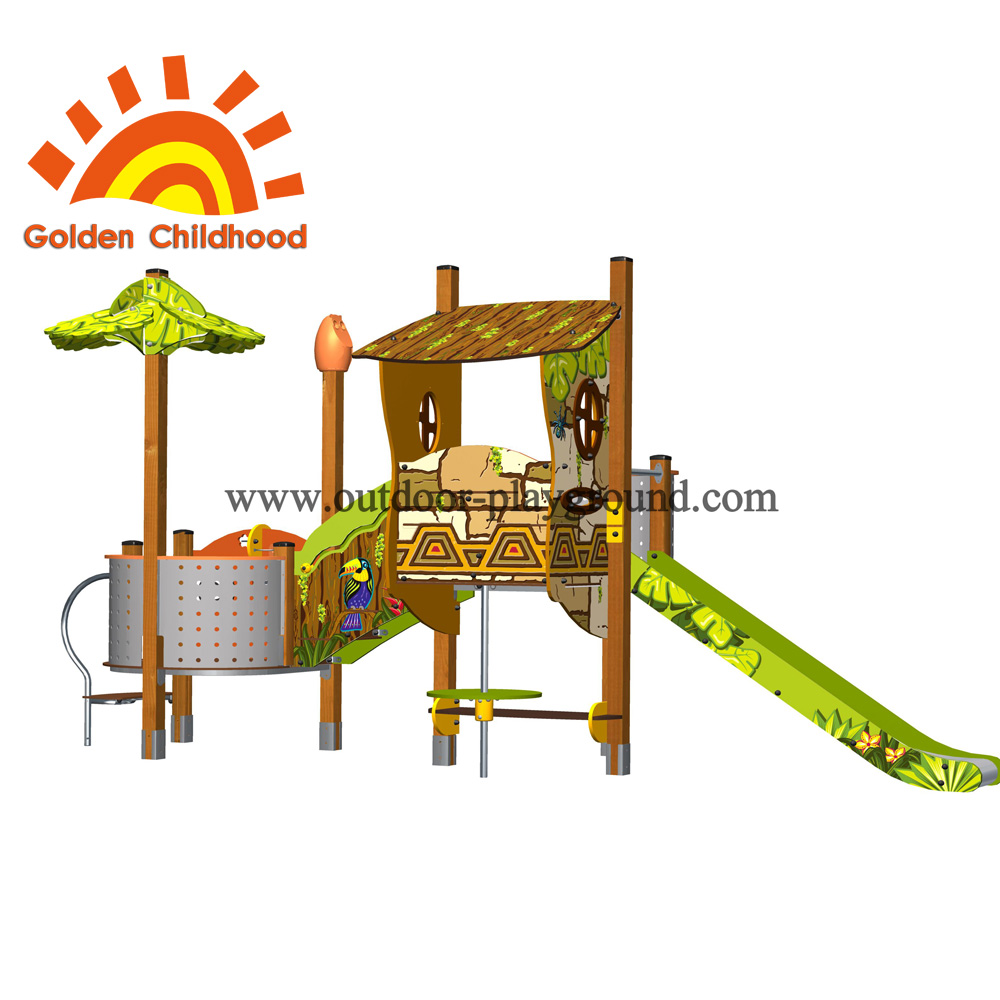 Slide With Playhouse Outdoor Playground Equipment For Children