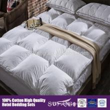Juego de cama antialergia colchón topper edredón de plumas de pato de algodón y edredón de plumas