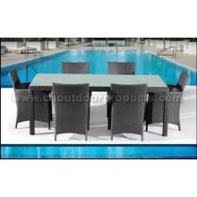 Muebles de comedor de mimbre al aire libre