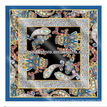 NO MOQ personalizado bufandas de seda en digital impreso