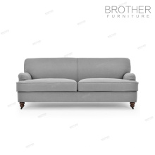 Living room upholstery furniture modern wood frame three seater fabric chesterfield sofa with high back