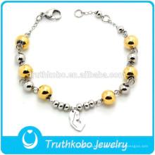 Bracelet extensible de perles en gros avec des bijoux de chapelet de charme de la Vierge Marie
