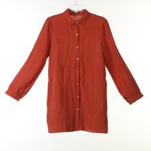 Длинная блуза из льна / вискозы с перламутром