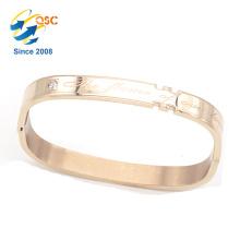 Simple design custom girls accessory rose gold engraved stainless steel bracelet