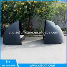 2 Parts New Outdoor Rattan Round Sunbed