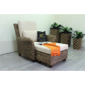 Classy Arm Chair and Stool Weaved Of Natural Material - Water Hyacinth Wicker For Indoor Use