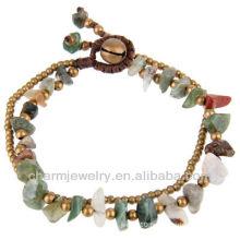 Hand Craft Natural India Agate avec perles en laiton Bracelet Vners SB-0026