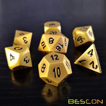 Bescon Heavy Duty Deluxe Matt Golden Solid Metall Würfel Set, Golden Metallic Polyhedral D & D RPG Spiel Würfel 7pcs Set