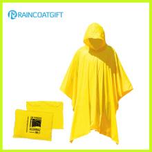 Poncho de pluie en plastique jaune réutilisable imperméable