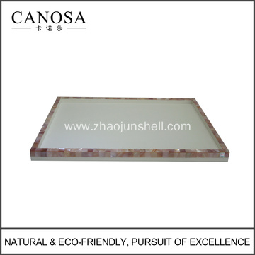 Hotel Resin Amenity Tray with Pink Shell