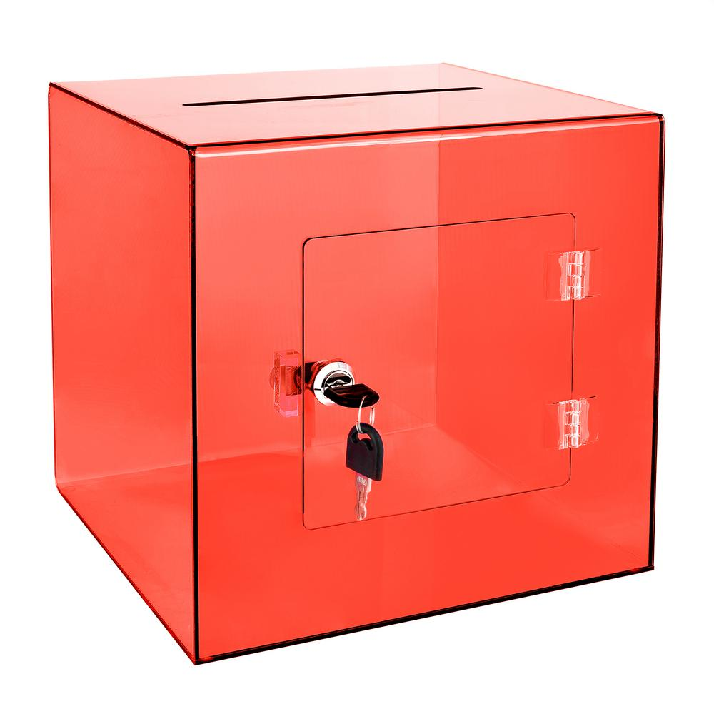 Acrylic Suggestion Box With Lock Red