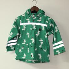 Зеленые мультфильм Cat Светоотражающий пу дождя куртку/плащи