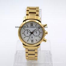 5ATM Waterproof Men′s Stainless Steel Wristwatch Bracelet Watch (Gold)