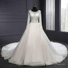 С Длинным Рукавом Спинки Кружева Свадебное Платье