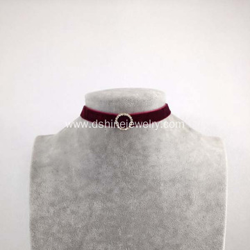 Velvet Choker Necklace Gothic Crystal Circle Collar Chocker