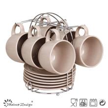 Matte Ceramic Coffee Mug & Saucer with Metal Rack