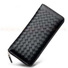 OEM Colorful Sheep Leather Plaited Purse Wallet with Zipper